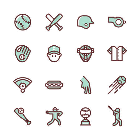 collection of baseball icons