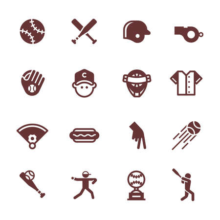 Collection of baseball icons Illustration