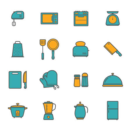 set of kitchen appliance icons