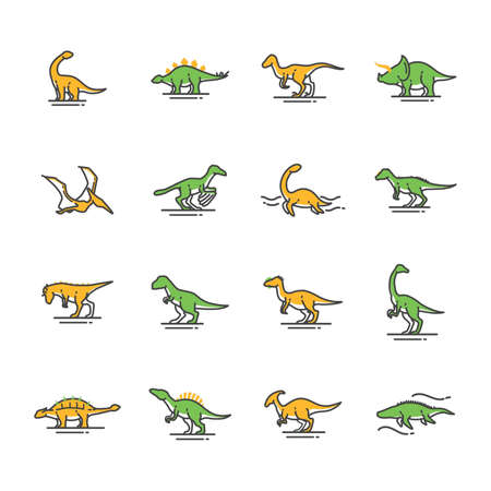 set of dinosaur icons Illustration