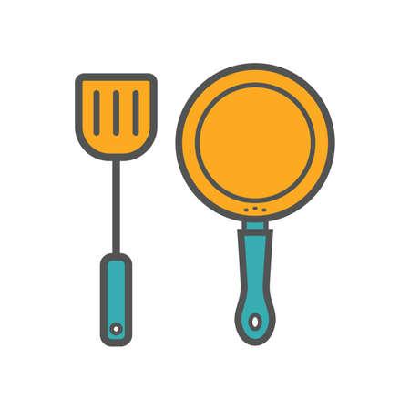 Spatel en frituurpan Vector Illustratie