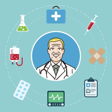 médico rodeado de artículos médicos