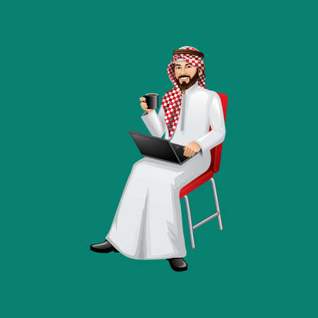 thawbs: middle eastern businessman with a laptop and coffee Illustration