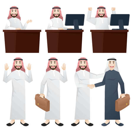 set of middle eastern businessman icons