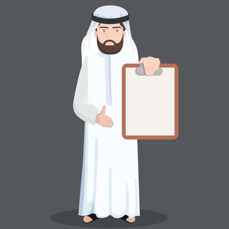 thawbs: middle eastern businessman with a clipboard