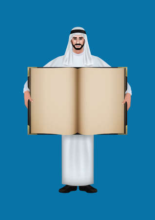 thawbs: middle eastern man with a blank book Illustration