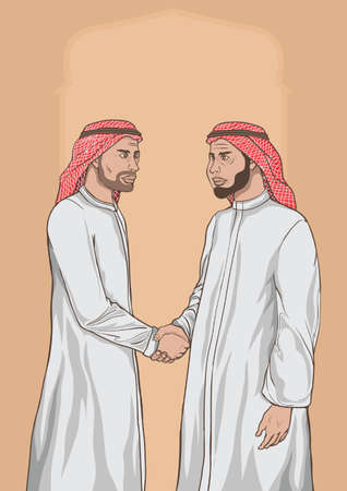 middle eastern men shaking hands
