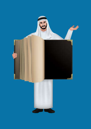 thobe: middle eastern man with a blank book Illustration