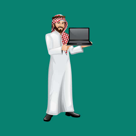 middle eastern businessman with a laptop