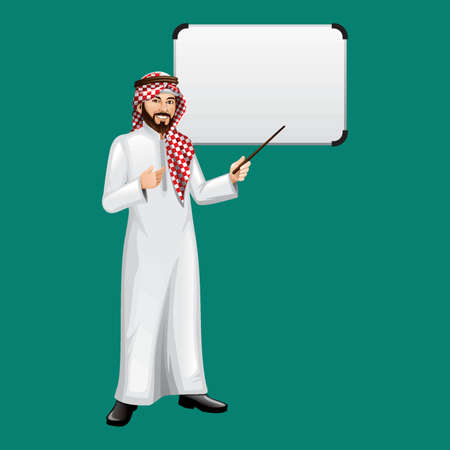 thobe: middle eastern businessman in a presentation