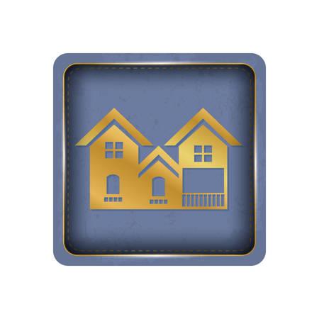 Purple background house button design. Illustration