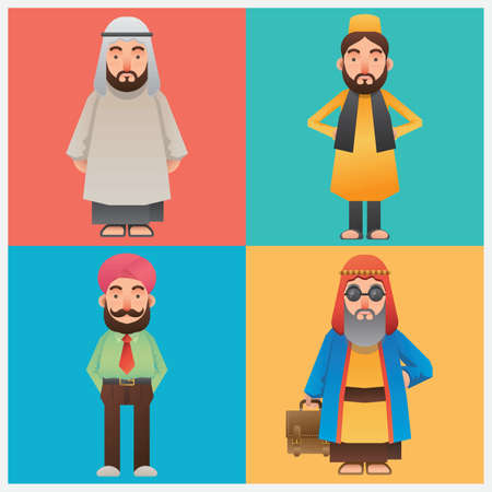 thobe: set of middle eastern man icons