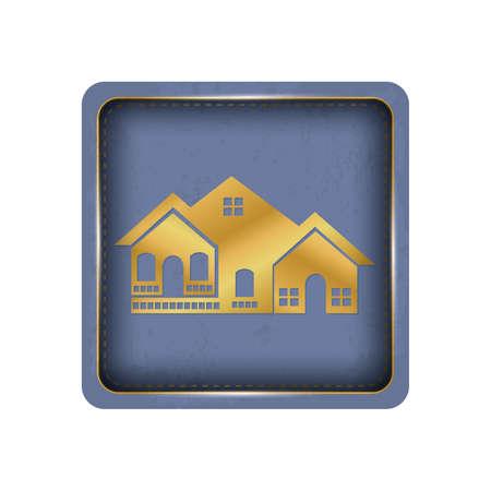 Golden house button design. Ilustração