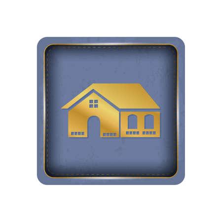 Glassy house button design. Illustration
