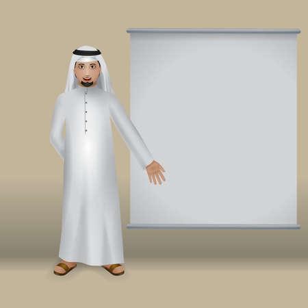 thobe: middle eastern man in a presentation