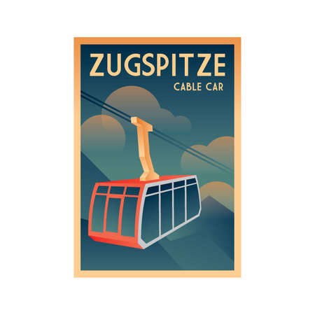 germany poster design - zugspitze cable car