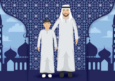thawbs: middle eastern man with son