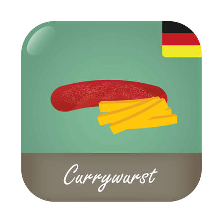 Currywurst with German flag badge icon.