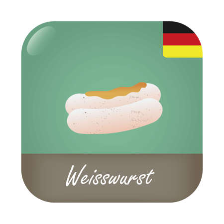 weisswurst: Weisswurst with German flag badge icon. Illustration