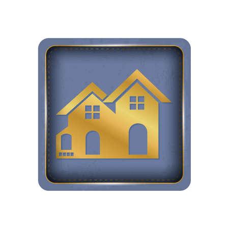 Glossy golden house button design.