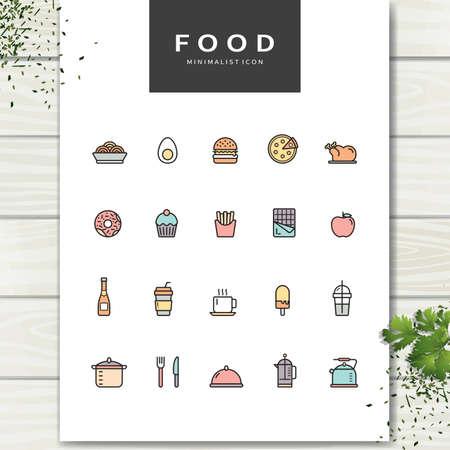 Set van voedsel pictogrammen.