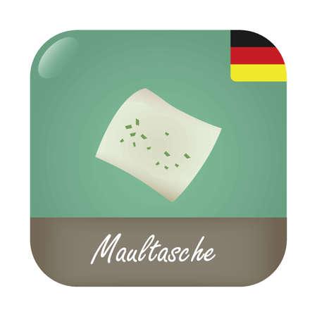 Maultasche mit deutschem Flagge Abzeichen Symbol. Standard-Bild - 74094919