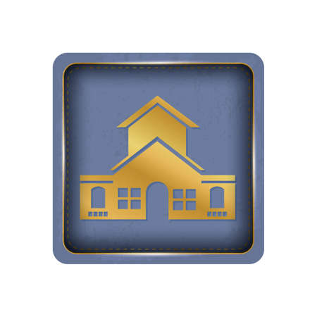Glossy in gold house button design. Illustration