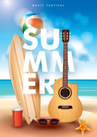 Cool summer poster design. Illustration