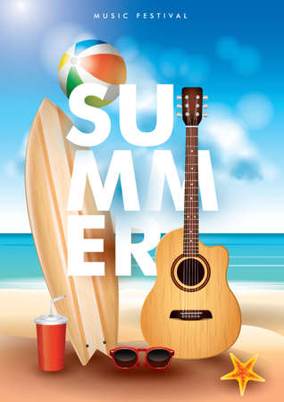 Cool summer poster design. Illustration