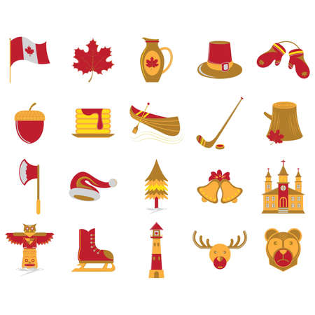 Colorful set of Canada icons.