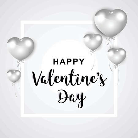 Silvery happy valentines day greeting.