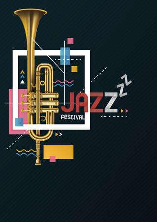 Coold artisiek jazzfestival posterontwerp. Stock Illustratie