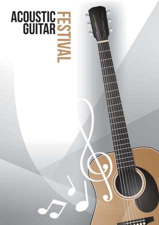 acoustic guitar festival poster design Illustration