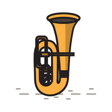 Tuba illustration on isolated background.
