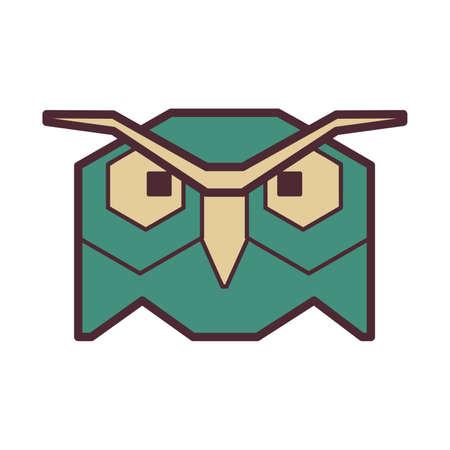 nocturnal animal: Owl head Illustration