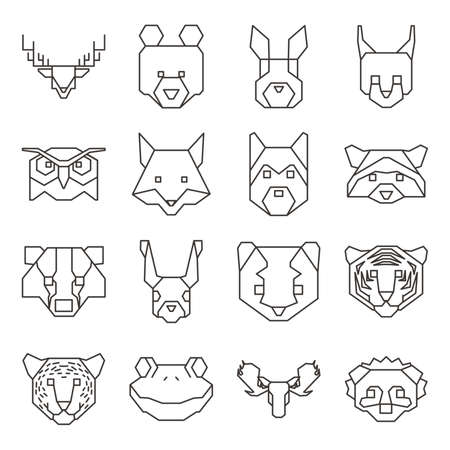 nocturnal animal: Collection of geometrical animal heads