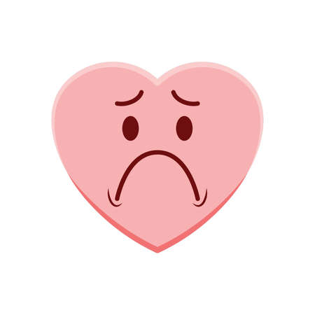Heart character feeling sad Vettoriali