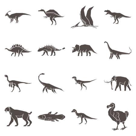 先史時代の動物のコレクション  イラスト・ベクター素材