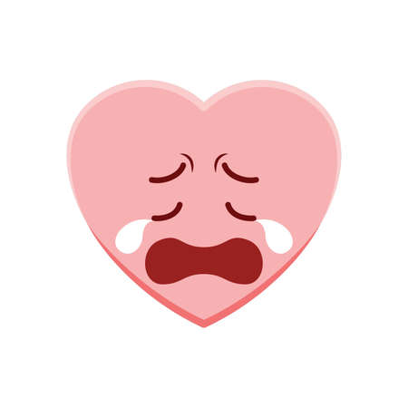 Heart character crying