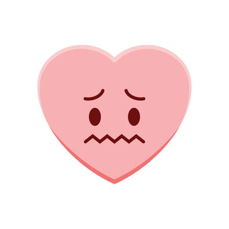 uneasy: heart character worrying