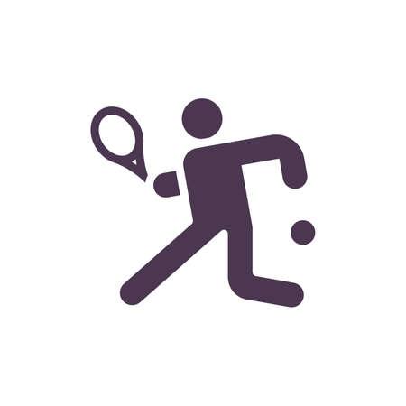 Tennis player retrieving the ball