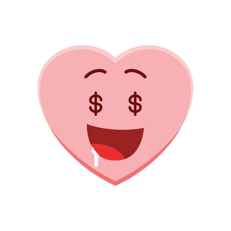Heart character with money face