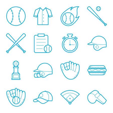Set of baseball items Ilustração