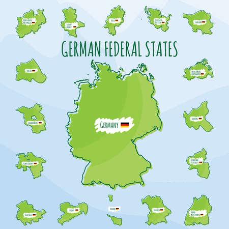 Satz von Bundesländer Ikonen Standard-Bild - 74131717