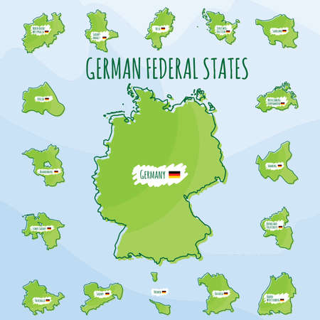 Set of german federal states icons Illustration