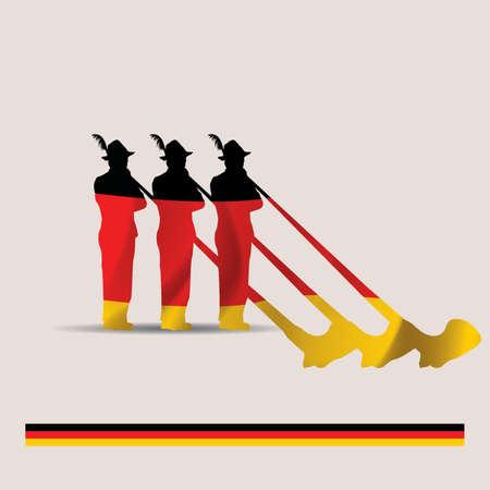 alphorn: german alphorn players Illustration