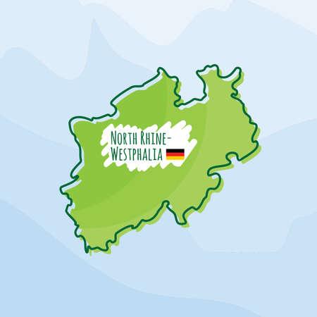 Karte von nordrhein-westfalen, deutschland Standard-Bild - 74131987
