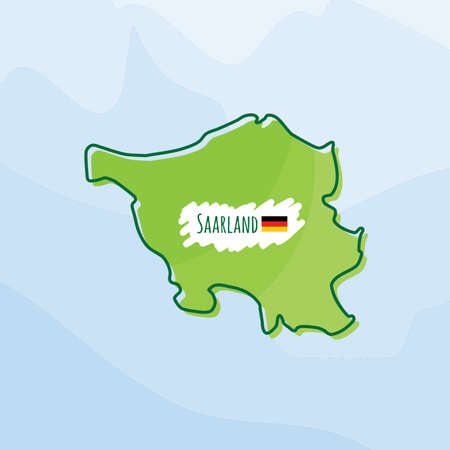 map of saarland, germany Illustration