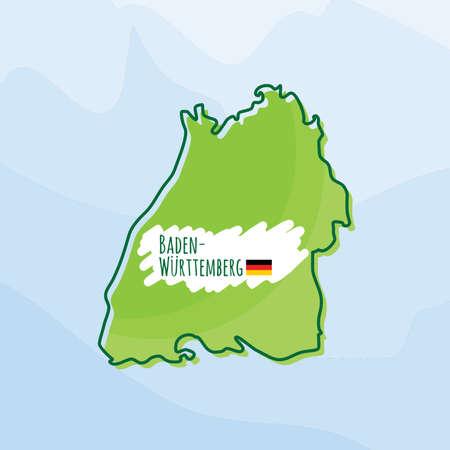 Karte von Baden-Württemberg Standard-Bild - 74132712