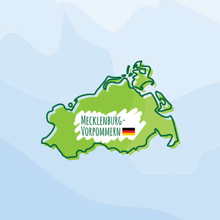 map of mecklenburg-vorpommern, germany Illustration